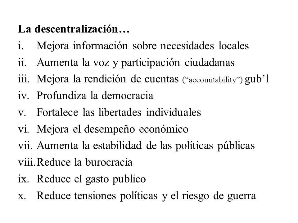 La descentralización…