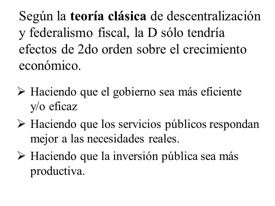 Según la teoría clásica de descentralización y federalismo fiscal, la D sólo tendría efectos de 2do orden sobre el crecimiento económico.