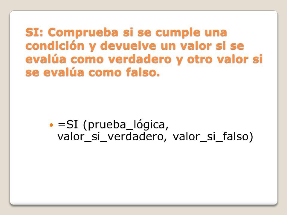 =SI (prueba_lógica, valor_si_verdadero, valor_si_falso)