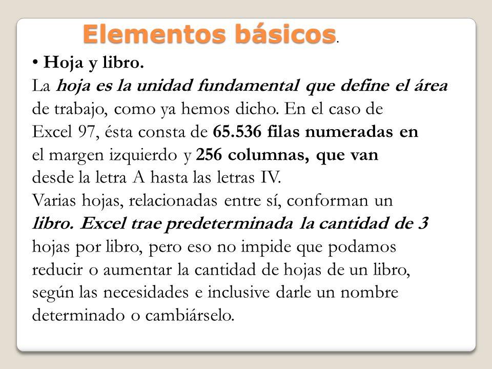 Elementos básicos. • Hoja y libro.