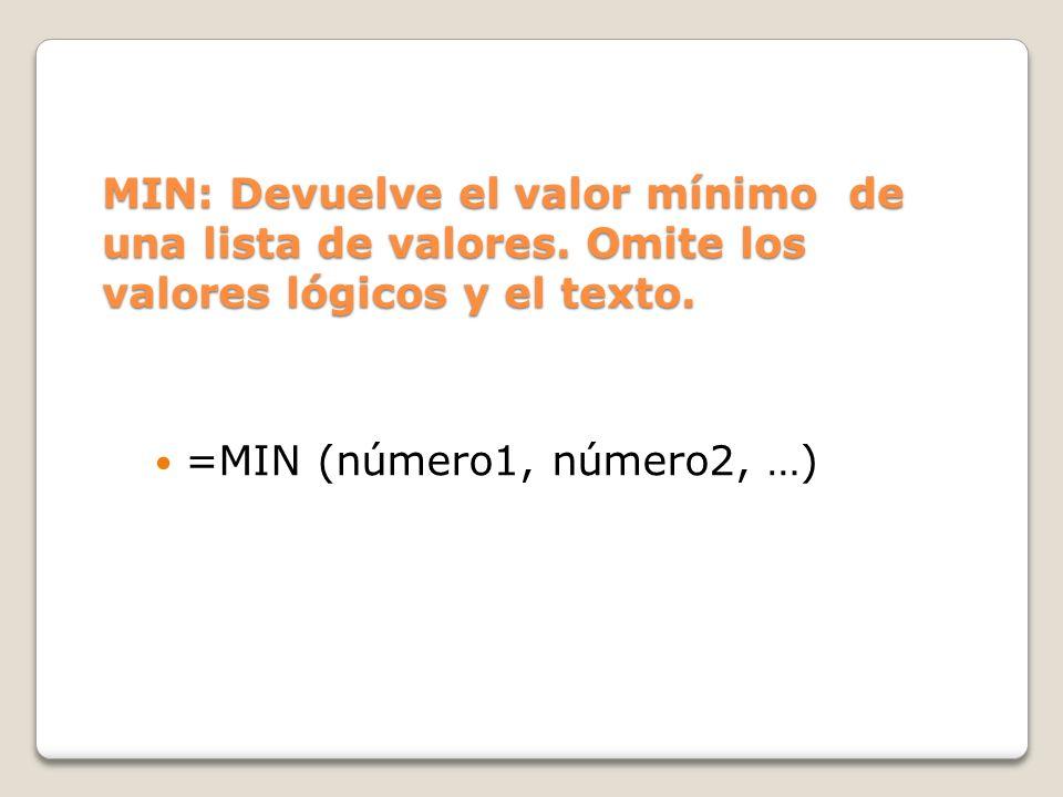 MIN: Devuelve el valor mínimo de una lista de valores