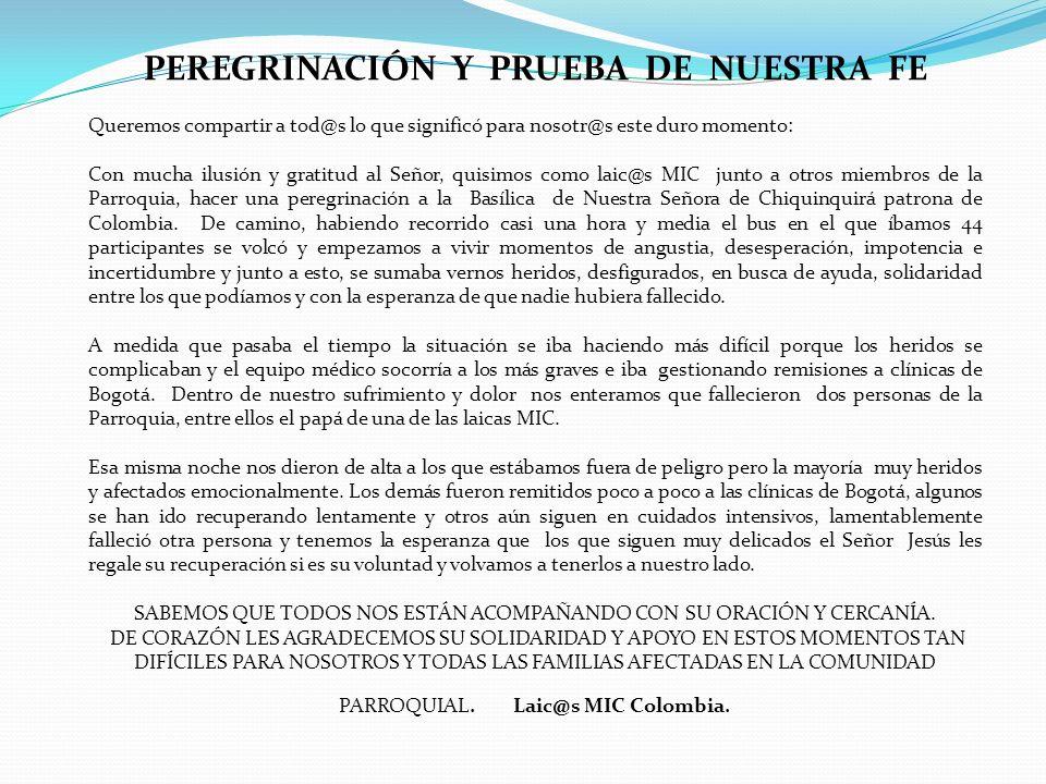 PEREGRINACIÓN Y PRUEBA DE NUESTRA FE