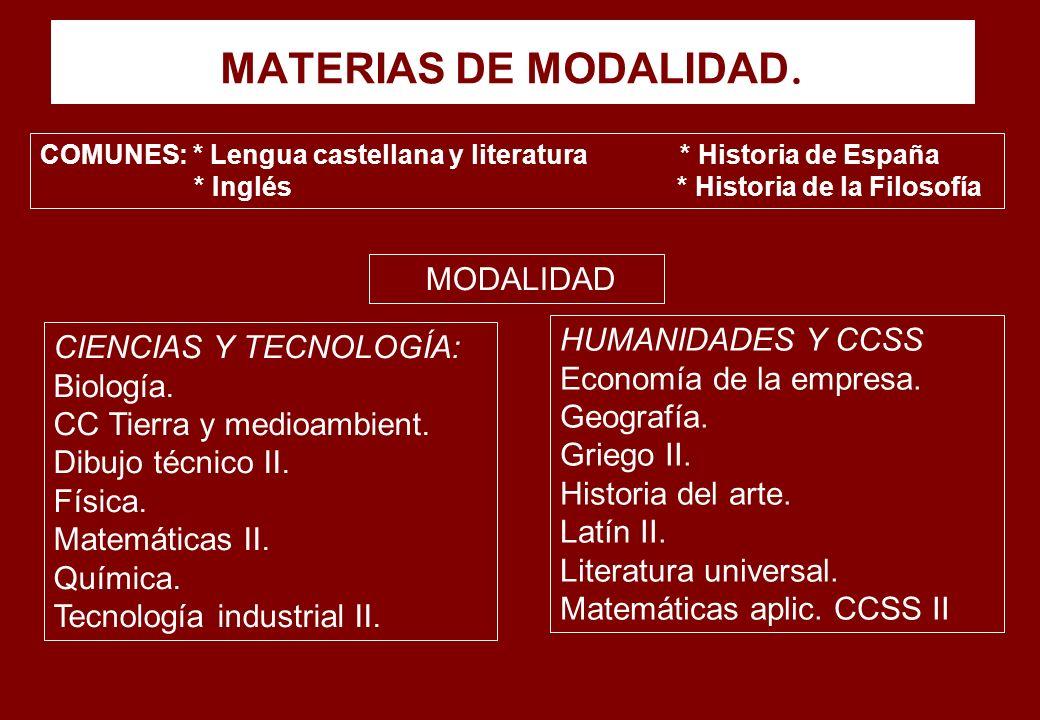 MATERIAS DE MODALIDAD. MODALIDAD HUMANIDADES Y CCSS