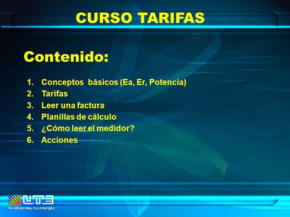 CURSO TARIFAS Contenido: