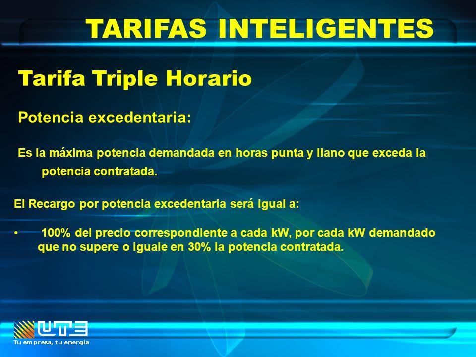 TARIFAS INTELIGENTES Tarifa Triple Horario Potencia excedentaria: