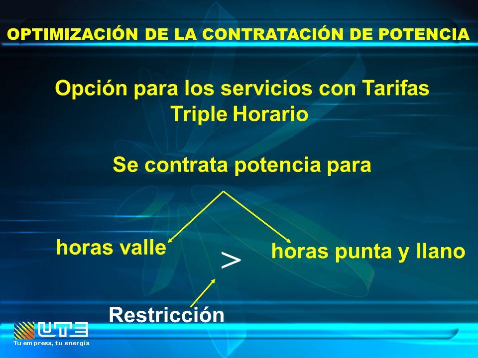 > Opción para los servicios con Tarifas Triple Horario