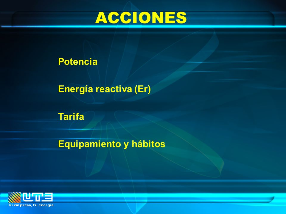 ACCIONES Potencia Energía reactiva (Er) Tarifa Equipamiento y hábitos