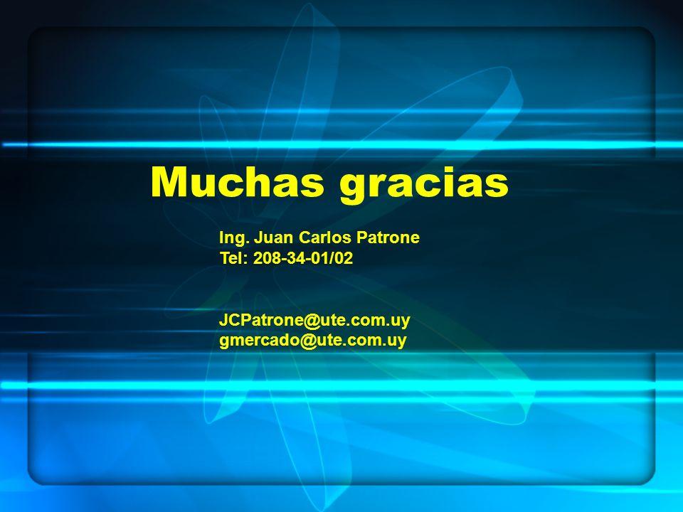 Muchas gracias Ing. Juan Carlos Patrone Tel: 208-34-01/02