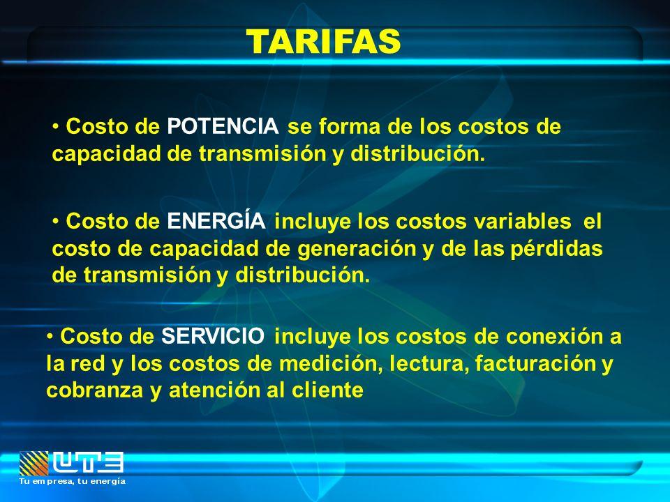TARIFAS Costo de POTENCIA se forma de los costos de capacidad de transmisión y distribución.