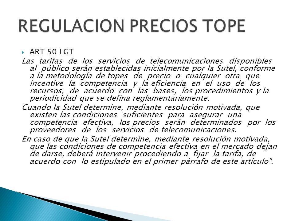REGULACION PRECIOS TOPE