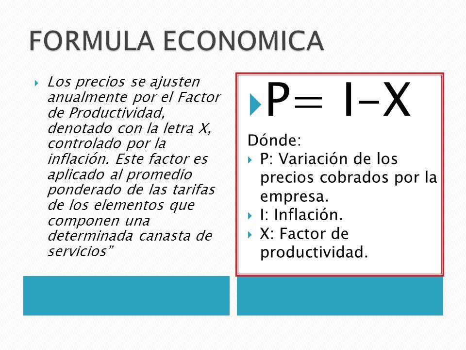 P= I-X FORMULA ECONOMICA Dónde: