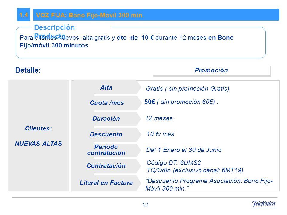 Descripción Producto Detalle: 1.4 VOZ FIJA: Bono Fijo-Movil 300 min.