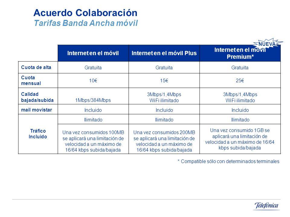 Acuerdo Colaboración Tarifas Banda Ancha móvil