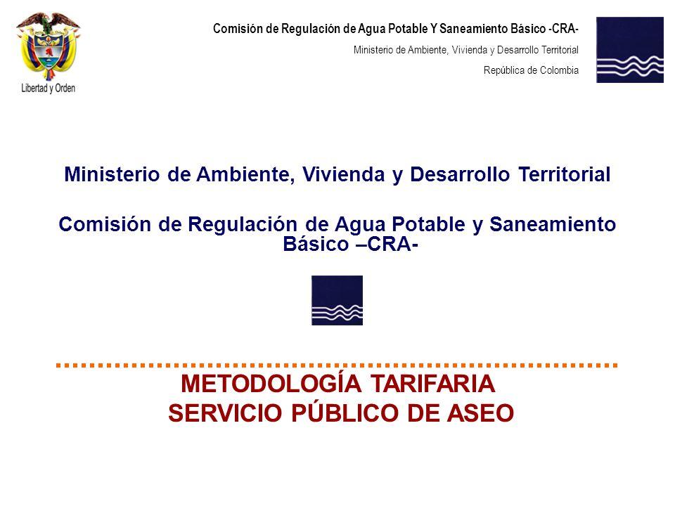 METODOLOGÍA TARIFARIA SERVICIO PÚBLICO DE ASEO