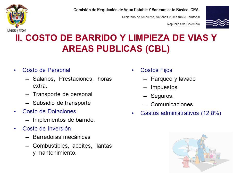II. COSTO DE BARRIDO Y LIMPIEZA DE VIAS Y AREAS PUBLICAS (CBL)