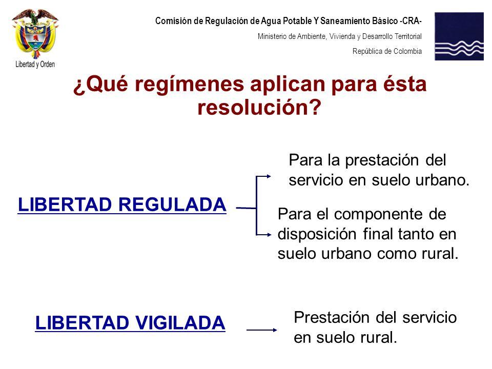 ¿Qué regímenes aplican para ésta resolución