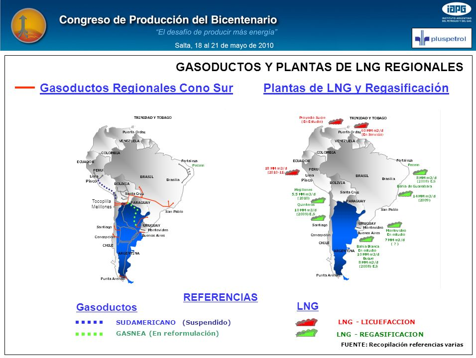 GASODUCTOS Y PLANTAS DE LNG REGIONALES