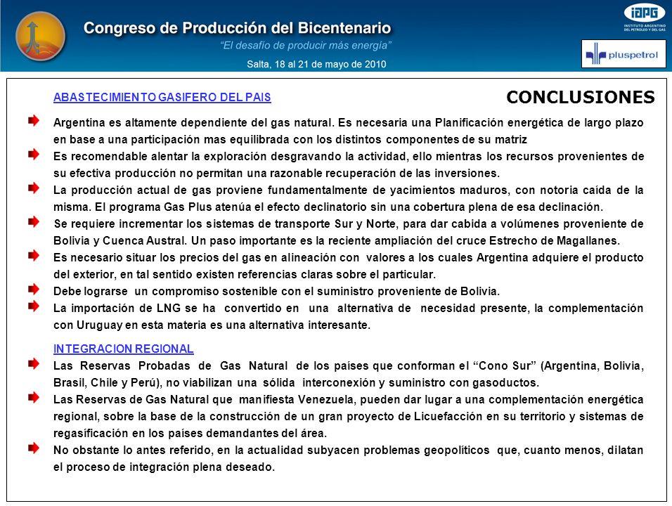 CONCLUSIONES ABASTECIMIENTO GASIFERO DEL PAIS