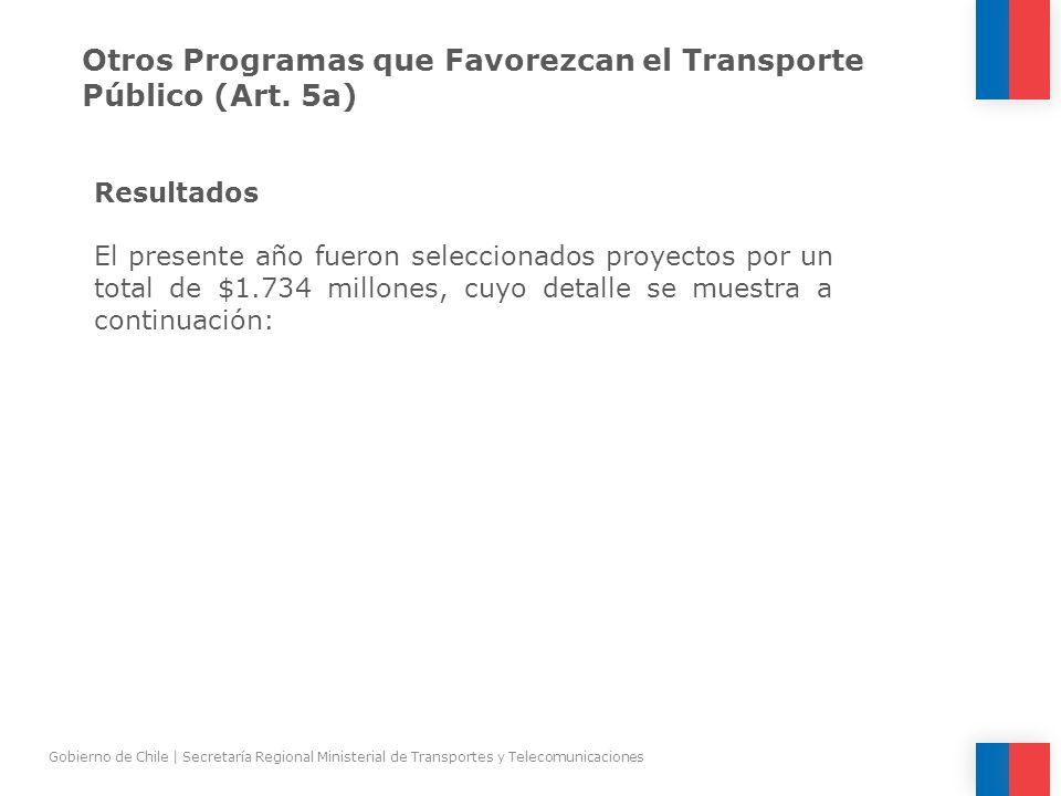 Otros Programas que Favorezcan el Transporte Público (Art. 5a)