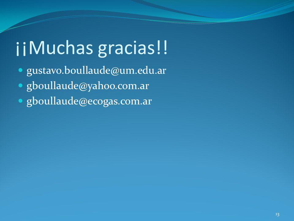 ¡¡Muchas gracias!! gustavo.boullaude@um.edu.ar gboullaude@yahoo.com.ar