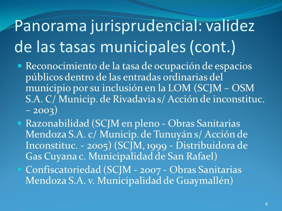 Panorama jurisprudencial: validez de las tasas municipales (cont.)