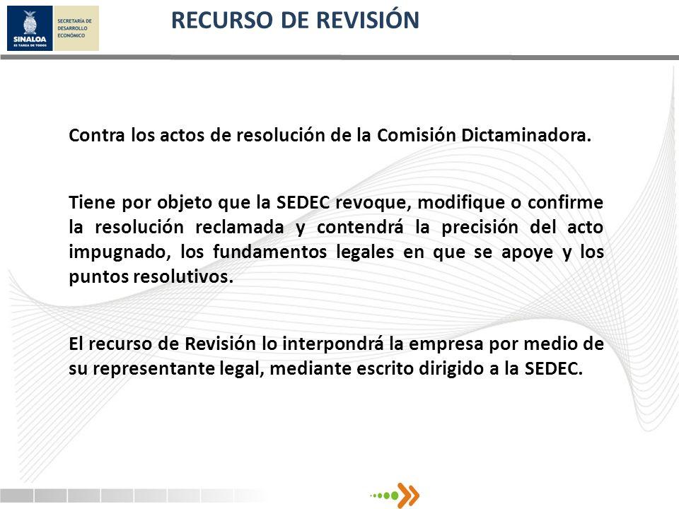 RECURSO DE REVISIÓN Contra los actos de resolución de la Comisión Dictaminadora.