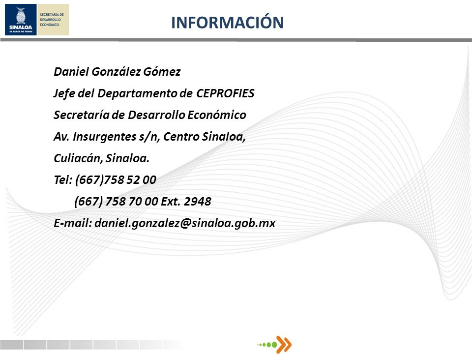 INFORMACIÓN Daniel González Gómez Jefe del Departamento de CEPROFIES