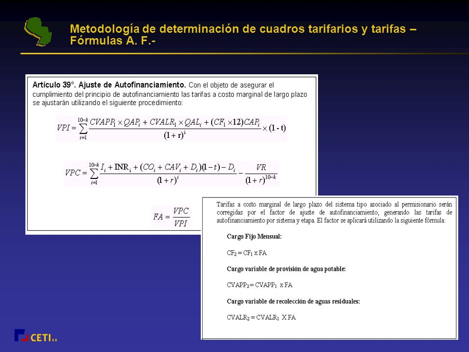 Metodología de determinación de cuadros tarifarios y tarifas –