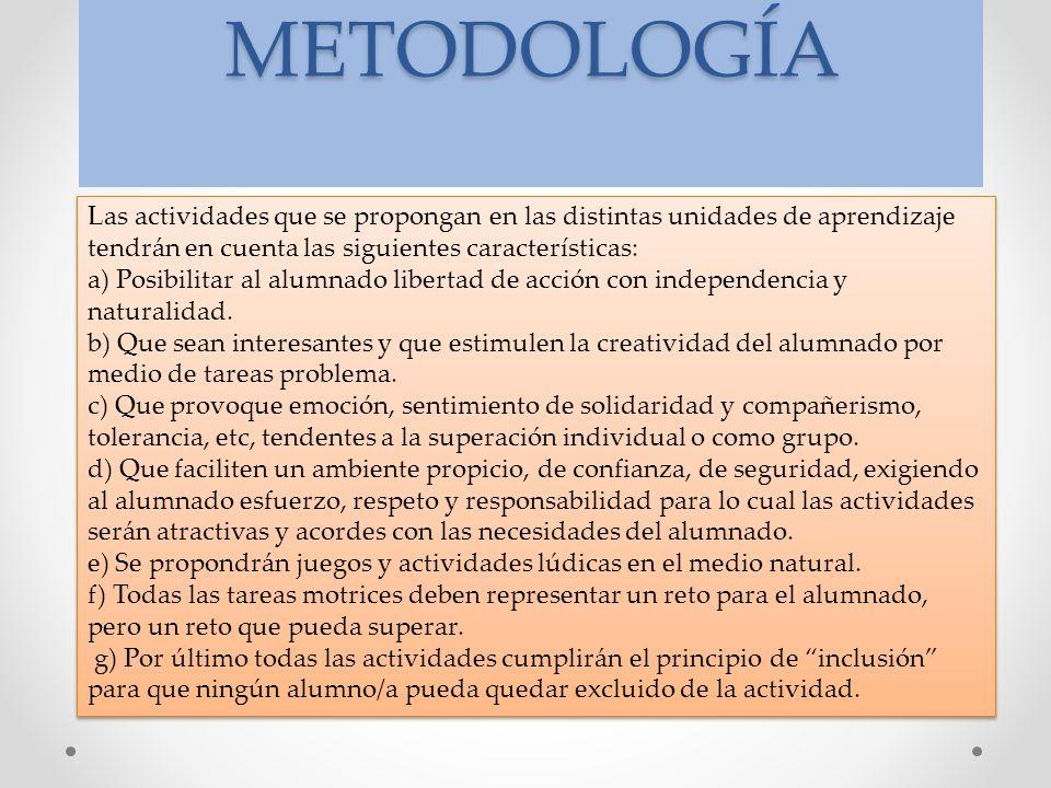 METODOLOGÍA Las actividades que se propongan en las distintas unidades de aprendizaje tendrán en cuenta las siguientes características: