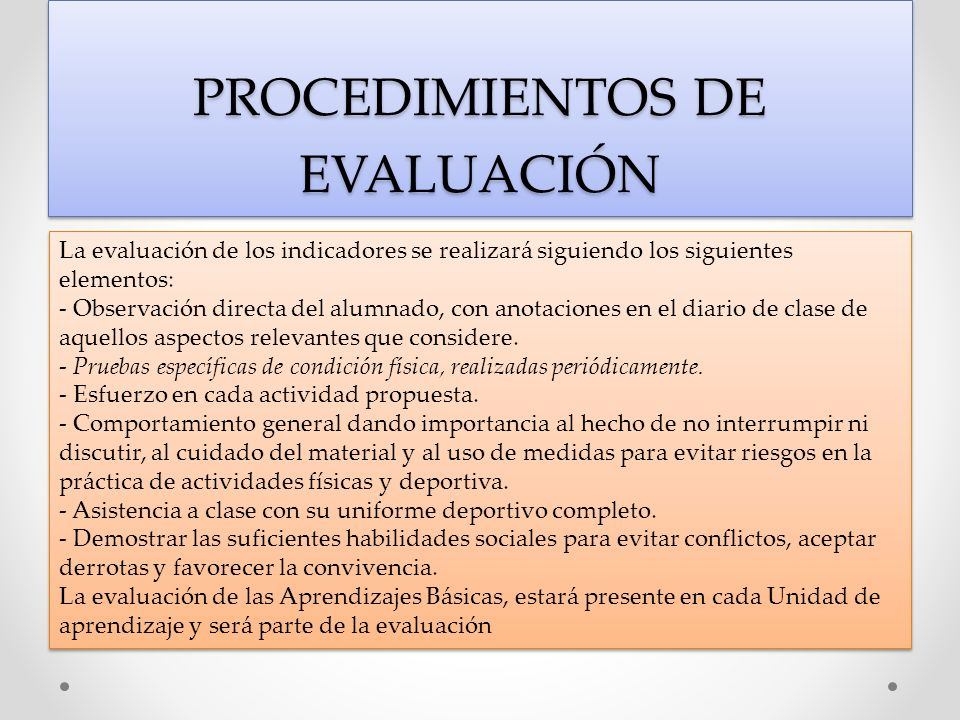 PROCEDIMIENTOS DE EVALUACIÓN