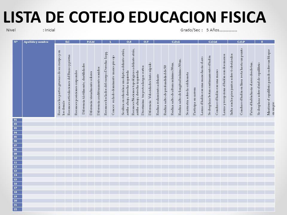 LISTA DE COTEJO EDUCACION FISICA