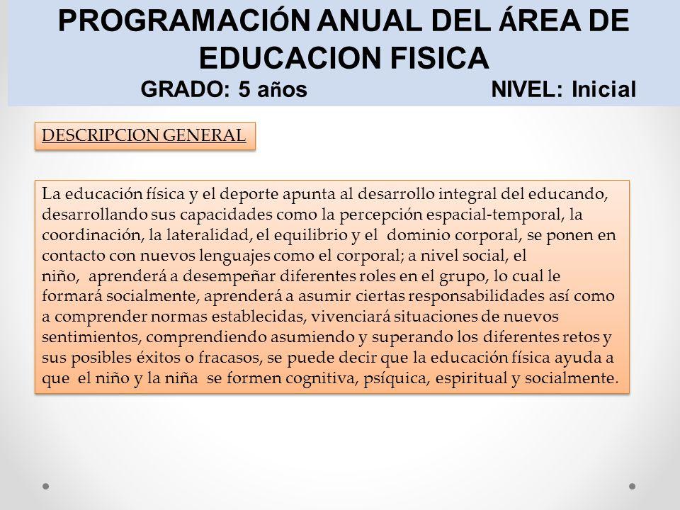 PROGRAMACIÓN ANUAL DEL ÁREA DE EDUCACION FISICA