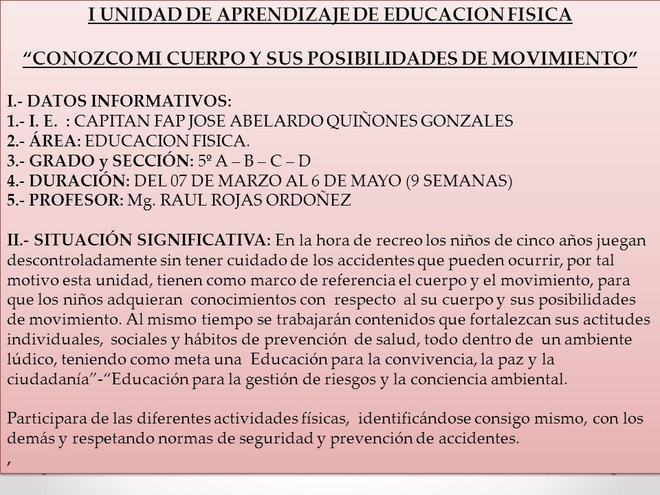 I UNIDAD DE APRENDIZAJE DE EDUCACION FISICA