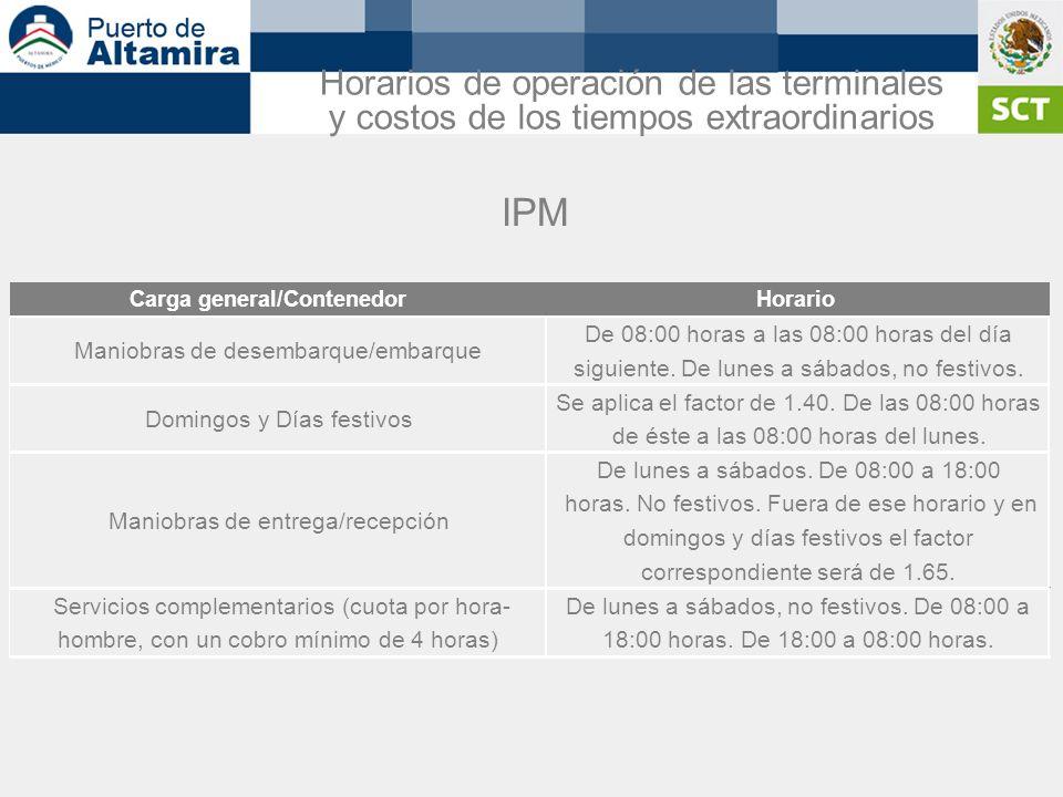 IPM Horarios de operación de las terminales