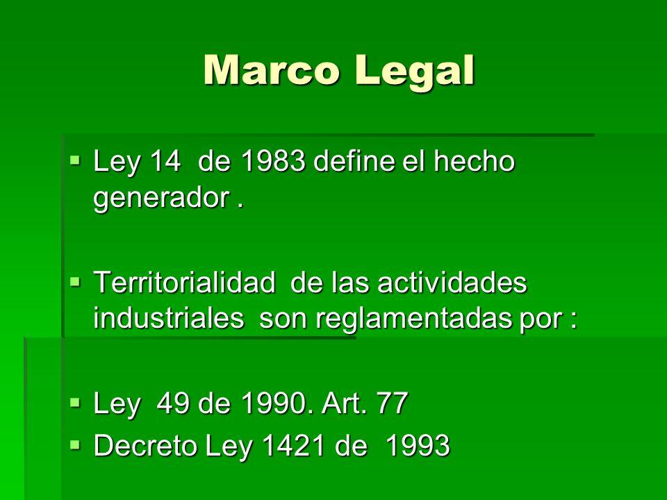 Marco Legal Ley 14 de 1983 define el hecho generador .