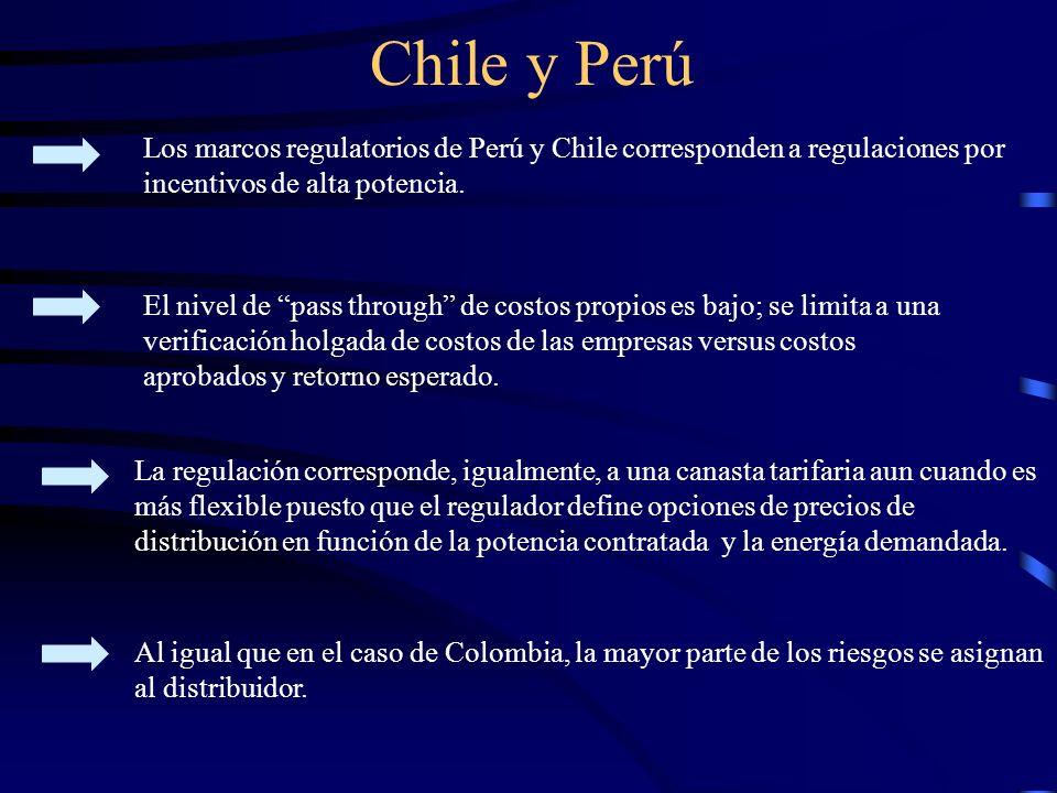 Chile y Perú Los marcos regulatorios de Perú y Chile corresponden a regulaciones por incentivos de alta potencia.