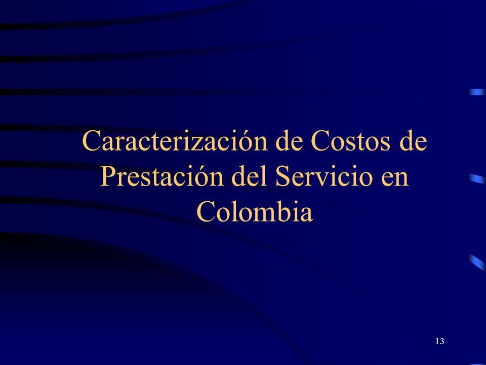 Caracterización de Costos de Prestación del Servicio en Colombia