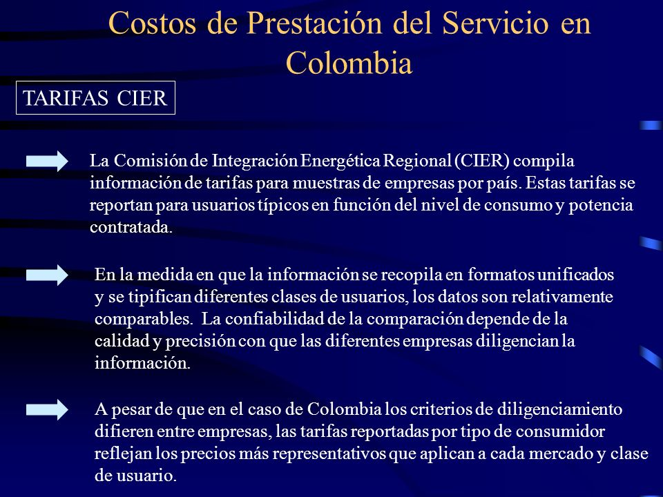 Costos de Prestación del Servicio en Colombia