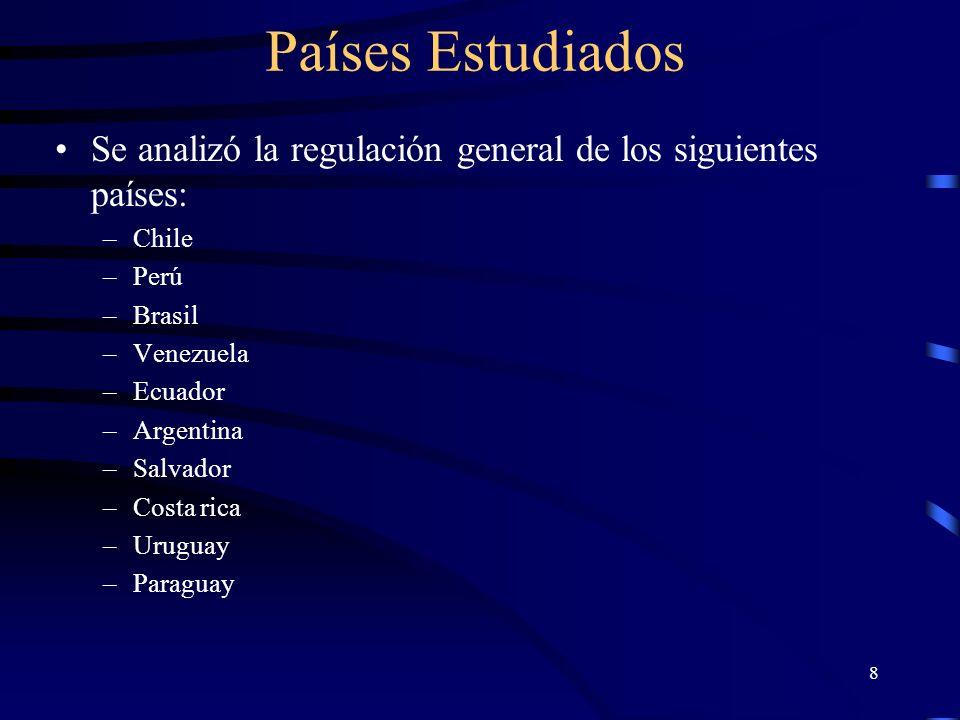 Países Estudiados Se analizó la regulación general de los siguientes países: Chile. Perú. Brasil.