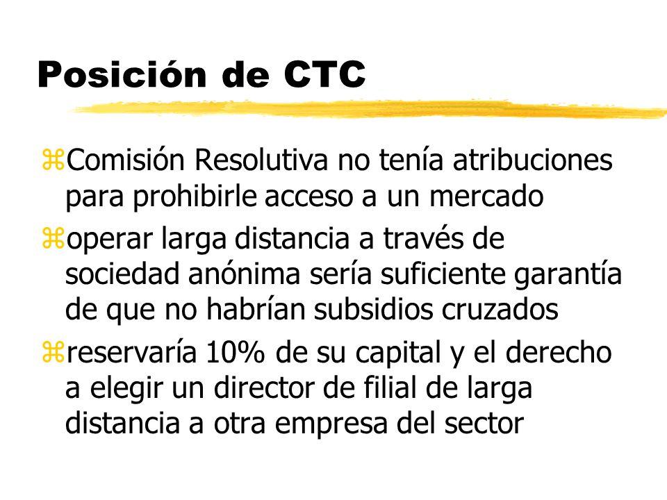 Posición de CTC Comisión Resolutiva no tenía atribuciones para prohibirle acceso a un mercado.