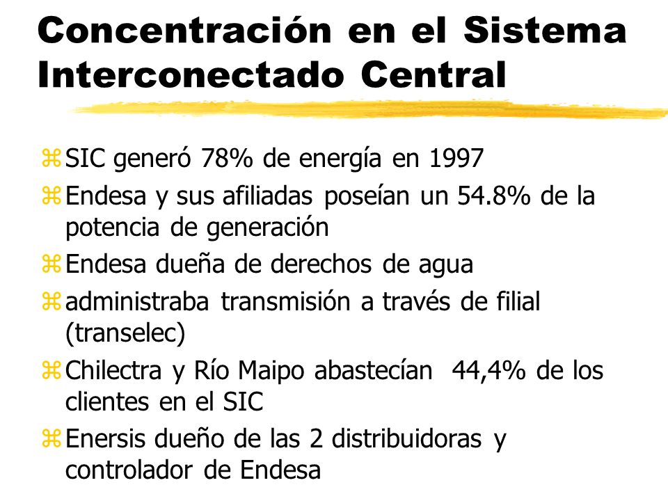 Concentración en el Sistema Interconectado Central