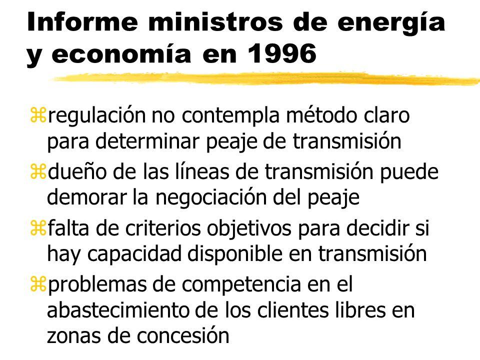 Informe ministros de energía y economía en 1996