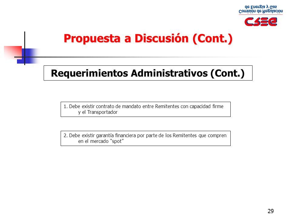Requerimientos Administrativos (Cont.)