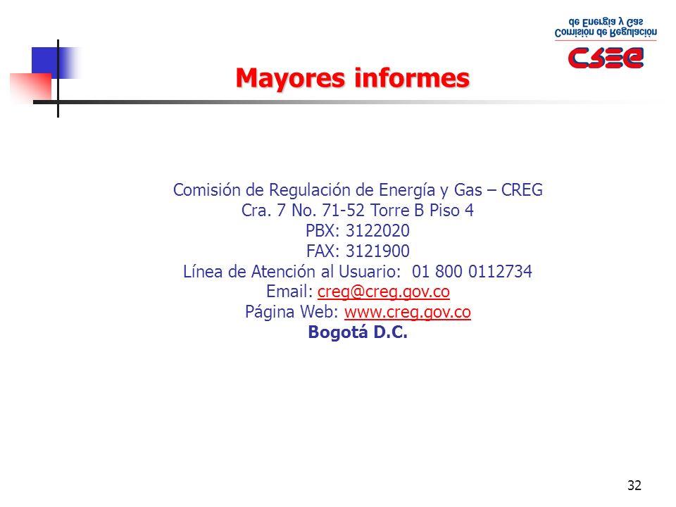 Mayores informes Comisión de Regulación de Energía y Gas – CREG