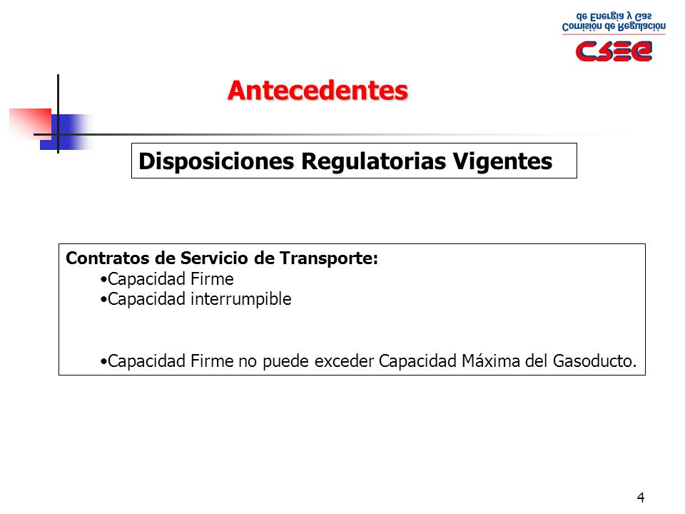 Antecedentes Disposiciones Regulatorias Vigentes