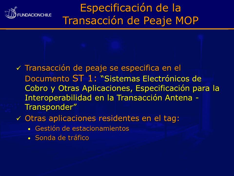Especificación de la Transacción de Peaje MOP