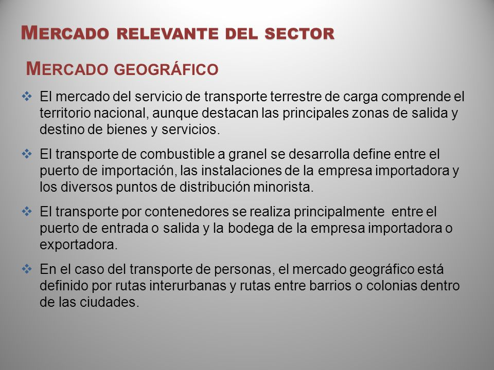 Mercado relevante del sector