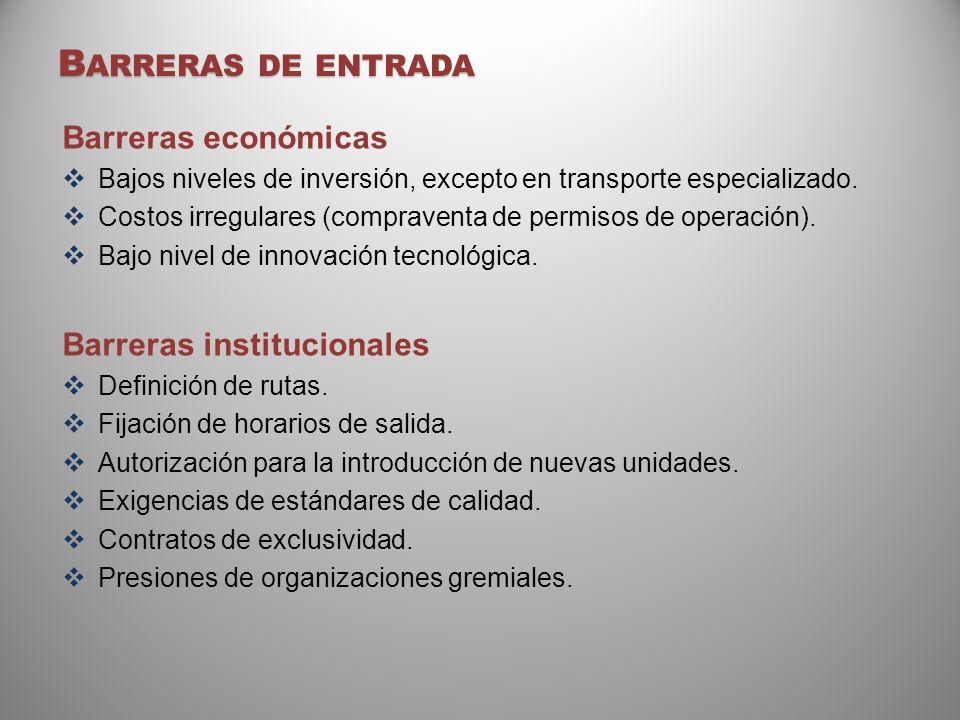 Barreras de entrada Barreras económicas Barreras institucionales