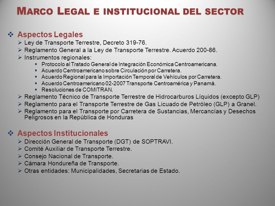 Marco Legal e institucional del sector