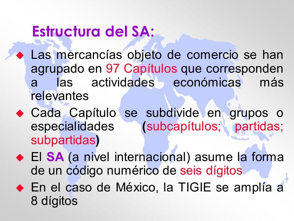 Estructura del SA: Las mercancías objeto de comercio se han agrupado en 97 Capítulos que corresponden a las actividades económicas más relevantes.